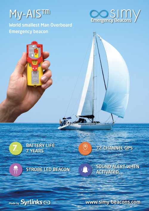 my ais simy product sheet, emergency beacon at sea, technical specifications, yachting, sailing, nautism